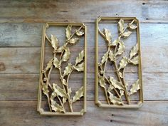 50s Wall Hangings, Gold Holly, Syroco Plaques, 1955 by OurVintageHouse on Etsy