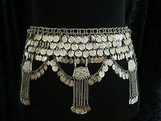 Belly dance silver coloured coin belt from Egypt | eBay