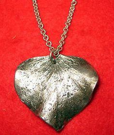 "Cast .925 Sterling Silver Pendant ""Leaf"" Necklace Pin Seena Donneson  www.modernartfoundry.com www.springgallerymaine.com"
