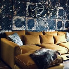 Meet the Fab Fleece Fans showing off their sheepskins / The Fabulous Fleece Company Velvet Sofa, Heavenly, Mustard, Looks Great, Fans, Victoria, Throw Pillows, Living Room, Instagram