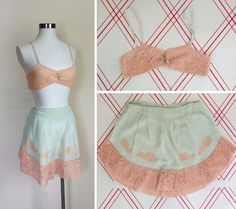 1920s Lingerie / Bralette and Tap Pants / CELADON and PEACH Silk and Lace M L