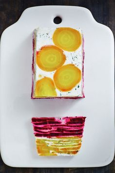 Beetroot, Goats Cheese and Garlic Herb Terrine is well worth a couple stained fingers
