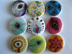 Set of Nine Peacock Feather Button Magnets by Getagripmagnets, $10.00