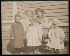 Vintage photo Little Baby Girl in buggy w 5 other Children bonnets coats