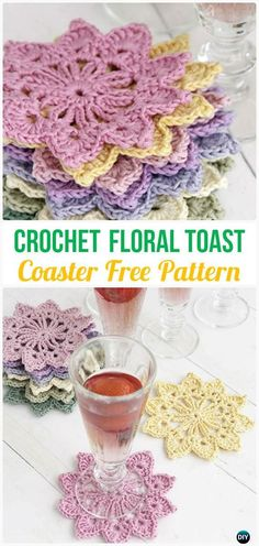 CrochetFloral Toast CoasterFreePattern- Crochet Coasters Free Patterns