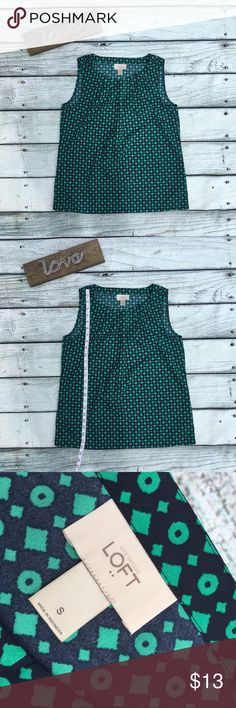 Loft green and black top size small Preowned Loft green and black top size small Tops Tank Tops