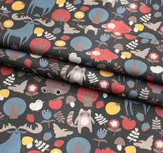 Digital Textile Printed Cute Animal Cotton by the yard width