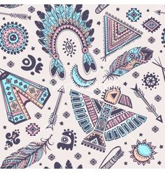 Seamless pattern with native american vector on VectorStock