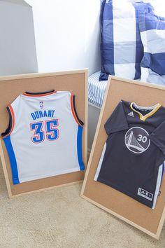Boys' room artwork - DIY Basketball jersey artwork - NBA jerseys - framed jersey - One Room Challenge
