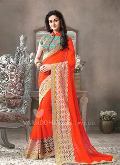 Magnificent Georgette Orange Designer Saree