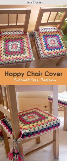This Happy Chair Cover Crochet Free Pattern is a decorative and colorful pattern that's great for dinner parties. Make one now with the free pattern provided by the link below. Crochet Cushion Cover, Crochet Cushions, Crochet Pillow, Blanket Crochet, Crochet Cushion Pattern Free, Granny Square Crochet Pattern, Crochet Squares, Crochet Patterns, Knitting Patterns