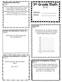 5th Grade Common Core Math Worksheets (TPT)