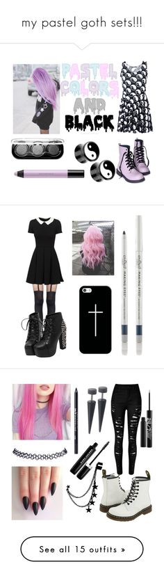 """my pastel goth sets!!!"" by neverlandcth ❤ liked on Polyvore featuring Chicnova Fashion, shu uemura, MAKE UP FOR EVER, Pretty Polly, Casetify, Eyeko, Wet Seal, Marc Jacobs, Urban Decay and Dr. Martens"