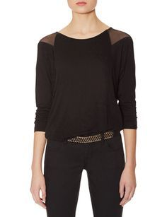 Mesh Shoulder Inset Dolman Top from THELIMITED.com #TheLimited