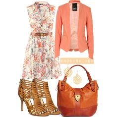 A fashion look from March 2013 featuring multi color dress, open front jacket und strappy leather sandals. Browse and shop related looks.