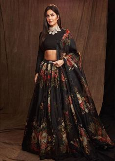 Black Colour Orgenza Silk A Line Lehenga Choli Comes With Matching Taffeta Silk Blouse Fabric. This Lehenga Choli Is Crafted With Printed. This Lehenga Choli Is Semi Stitched and Blouse Comes As a Uns. Indian Lehenga, Black Lehenga, Lehenga Choli Designs, Lengha Design, Designer Bridal Lehenga, Katrina Kaif, Indian Wedding Outfits, Indian Outfits, Indian Reception Outfit