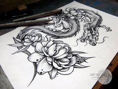 Сообщество иллюстраторов / Иллюстрации / Горностаева Алиса / Эскиз тату дракон дотворк tattoo flash dragon dotwork