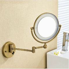 """High quality 8"""" Brass Antique 1x3 magnifying bathroom wall mounted round led cosmetic makeup mirror With lighting Mirror - http://furniturefromchina.net/?product=high-quality-8-brass-antique-1x3-magnifying-bathroom-wall-mounted-round-led-cosmetic-makeup-mirror-with-lighting-mirror"""