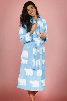 dc38567b4a Cozy Vintage Faux Chenille Robe with Animal Print (Blue Polar Bear Edition)