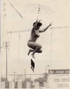 "Armida doing the tight wire. Photo taken in the early 1960′s on the Ken Jensen Circus. Armida and I did a bit in the TV series ""Greatest Show on Earth"" staring Jack Palance. The bit was on the wire doubling for Alejandro Ray and Dorothy Malone."