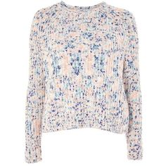 Women's Topshop Neppy Popcorn Sweater (210 BRL) via Polyvore featuring tops, sweaters, pink knit sweater, pink sweater, knit sweater, knit top e pink knit top