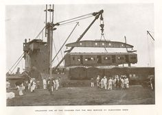 Indian railway- unloading a coach at Alexandra Dock from 'The opening of the Electrified Train Service on the Bombay Suburban Section' souvenir booklet 1928.  IET Archives NAEST 105