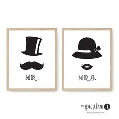 "http://etsy.me/1noTC1J ""Mr & Mrs"" - two piece printable wall decor This set of prints is perfect for your bedroom or as a gift for a couple (anniversary, wedding, valentines day) This is also available with a different lady's hat: http://etsy.me/1rAUYtB #gift #bedroom #walldecor"