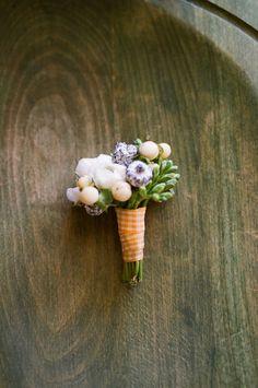 mini bouquet boutonniere in lavenders and creams