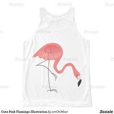 Cute Pink Flamingo Illustration All-Over Print Tank Top Flamingo Illustration, Simple Illustration, Printed Tank Tops, Pink Flamingos, Cute Pink, Shopping, Design, Fashion, Moda