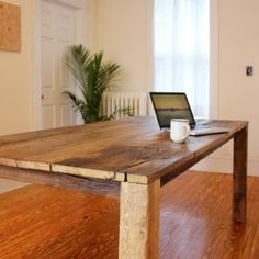 Designed and built by Detroit native Jason Krol, this M1 Table bridges the gap between rugged and modern. Constructed from reclaimed Michigan barn pinewood, it follows the clean lines of the Parsons Table. With its generous dimensions of 7 x 3 feet, it comfortable seats 8 people or offers plenty of desk space for people who like to spread out. The wood for the M1 Table comes from a dismantled 150 year old barn on the grounds of Swanbeck Farm in Fenton, MI.