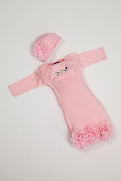 Newborn Infant Layette Baby Gown with Light pink