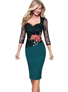 Vfemage Women Embroidered Floral See Through Lace Cocktail Party Dress 3198 GRN 12