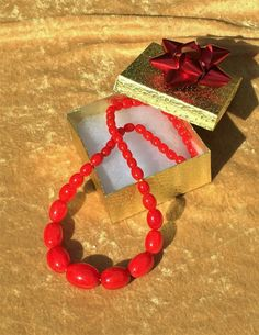 Candy Apple Red Marbled Bakelite Bead Necklace Bakelite Graduated Oval Bead Necklace Simichrome Tested Plastic Art Deco Jewelry Gift For Her by CrowsNestAntiques on Etsy