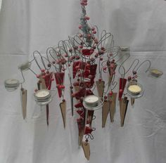 red and brown fused glass chandelier