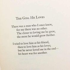 """""""His heart was for another....."""" - Lang Leav #unrequited #crushed"""