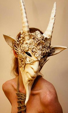 IMMAMESS HEADPIECE stunning Faun mask -- it would be interesting to see Fauns and Satyrs on the Montague boys, but I think it might be hard to find something so specific Headdress, Headpiece, Larp, Carnival Masks, Venetian Masks, Satyr, Masks Art, Beautiful Mask, Masquerade Ball