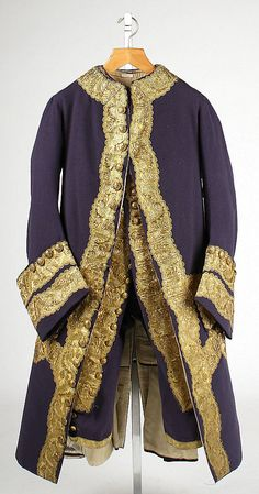 1760 British SUIT This magnificent wool suit remarkably survives complete with all of its components. Because elements of menswear were often retailored to accommodate changes in the wearers size or in fashion, this ensemble in essentially unaltered condition is an exceedingly rare example.