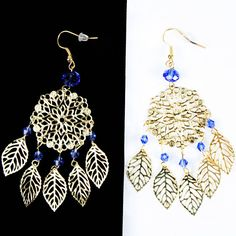 Crystal Royal Blue Gold Plated Leaves Evening Party Dangle Earrings
