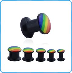 Fashion Rainbow Epoxy Picture on Acrylic Black Plugs Wholesale Body Jewelry