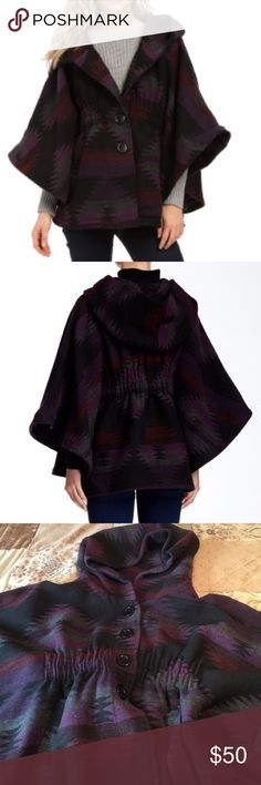 Steve Madden purple Aztec poncho Purple Aztec poncho with an oversized hood. Oversized look . Needed to find a picture online to show a better picture. Brand new with tags bought on clearance for $56.40 at Nordstrom rack Jackets & Coats Capes