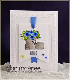 Smiling while Stamping: hello handmade card using My Favorite Things You Gnome Me stamp set and Blueprints 24 Die-namics
