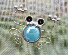 Stained Glass Screen Door Frog Turquoise Screen Bug by JasGlassArt
