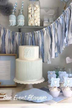Lovely cake at a shabby chic baptism party! See more party planning ideas at… Shabby Chic Cakes, Blue Shabby Chic, Christening Party, Baptism Party, Baby Boy Christening Decorations, Baptism Favors, Baby Boy Baptism, Baby Boy Shower, Ideas Bautismo