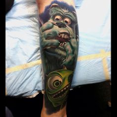 Finished this #monstersinc #disney Tattoo yesterday bottom one is fully healed top hands and parts of the face is fresh will post better pics soon - @nikkohurtado- #webstagram - It is my DREAM to have my next Disney tat done by Nikko. So incredible.