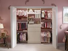 Stylish Closet Solution. Typically made from coated wire or laminated wood, closet systems can add both beauty and function to a girl's room or nursery. A laminate closet system in traditional white by ClosetMaid complements this nursery's pastel color palette. Plus, the shelves and drawers in the center of the closet provide much-needed storage space for diapers, blankets, toys and more.