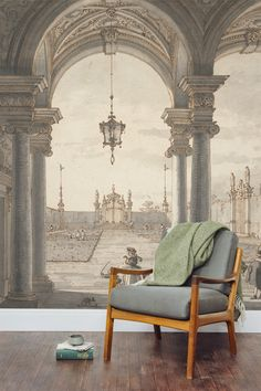Canaletto is famous for his paintings and drawings of Venice. This striking art wallpaper mural depicts a scene through a Baroque colonnade. The duck egg blue shades throughout this mural make this the perfect accompaniment with vintage inspired interiors.