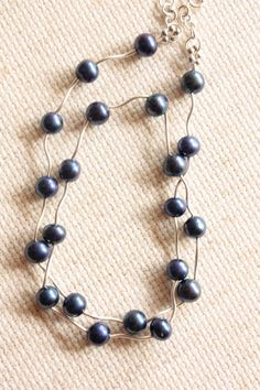 Navy Seaside Freshwater Necklace Wavy Sterling Silver by catilla, $46.00