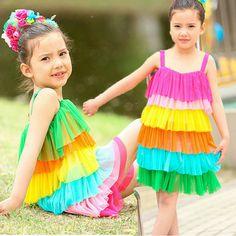 New fashion 2014 children clothing girls brand clothing summer rainbow tulle casual beach dress for teenage girls KYZ020