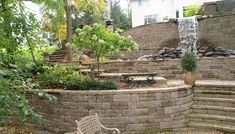waterfall, plants behind wall, stairs, multi level backyard, Terrace/Sloping Yard
