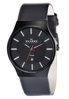 Price:$86.88 #watches Skagen 233XLCLB, Ceramic case, Calfskin Leather strap, Black dial, Quartz movement, Scratch-resistant mineral, Water resistant up to 3 ATM - 30 meters - 99 feet